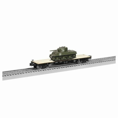 Lionel LNL1926712 40 ft. O Flatcar Model Train with Sherman Tank NYC No.496271 Perspective: front