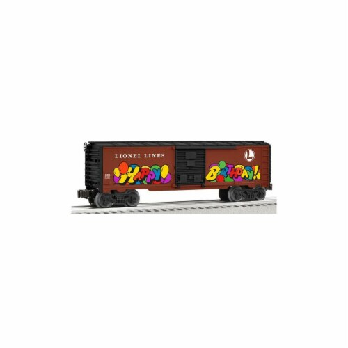 Lionel Personalized Message Birthday Box Car Perspective: front