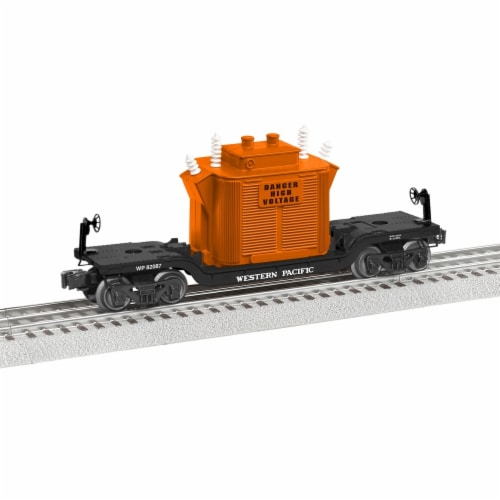 Lionel LNL82087 Western Pacific Depressed Flatcar with Generator Perspective: front
