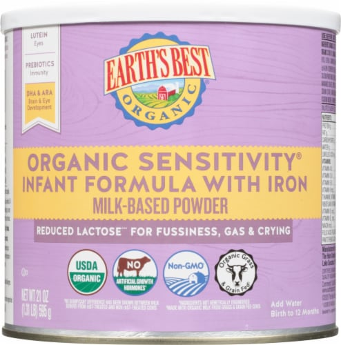 Earth's Best Organic Sensitivity with Iron Milk-Based Powder Infant Formula Perspective: front