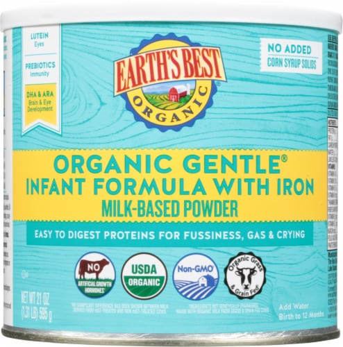 Earth's Best Organic Gentle Infant Powder Formula with Iron Perspective: front
