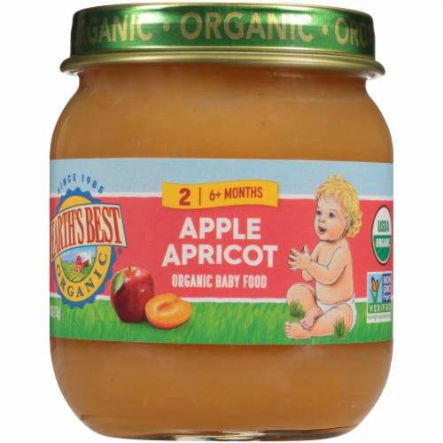 Earth's Best Stage 2 Organic Apples & Apricots Jar Perspective: front