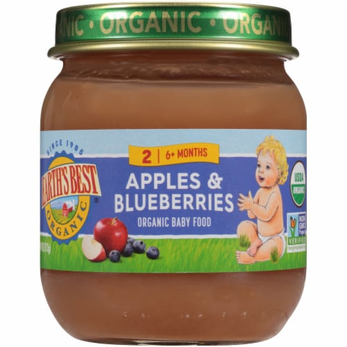 Earth's Best Organic Apples & Blueberries Stage 2 Baby Food Perspective: front