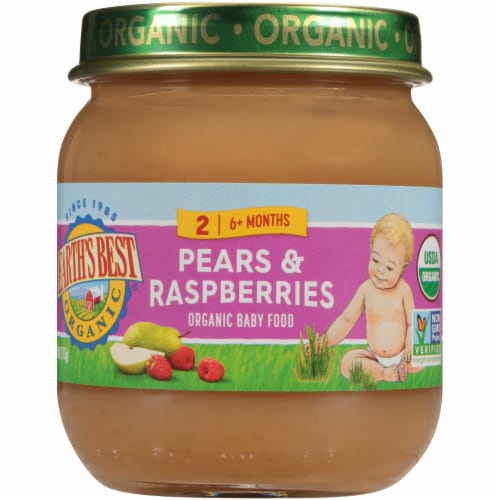 Earth's Best Organic Pears & Raspberries Stage 2 Baby Food Perspective: front