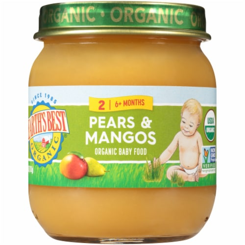 Earth's Best Organic Pears & Mangos Stage 2 Baby Food Perspective: front