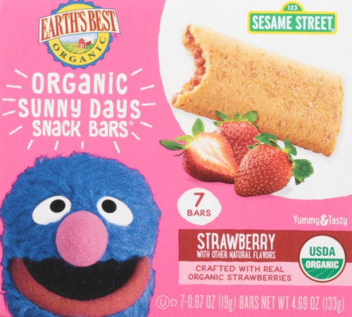 Earth's Best Organic Sunny Days Strawberry Snack Bars 8 Count Perspective: front