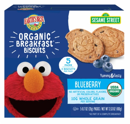 Earth's Best Sesame Street Blueberry Oat Organic Breakfast Biscuits Perspective: front