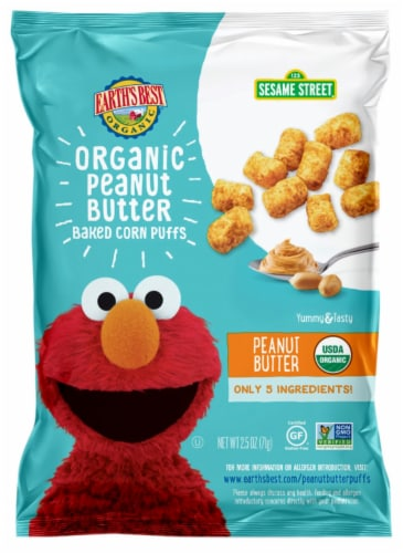 Earth's Best Organic Sesame Street Peanut Butter Baked Corn Puffs Perspective: front