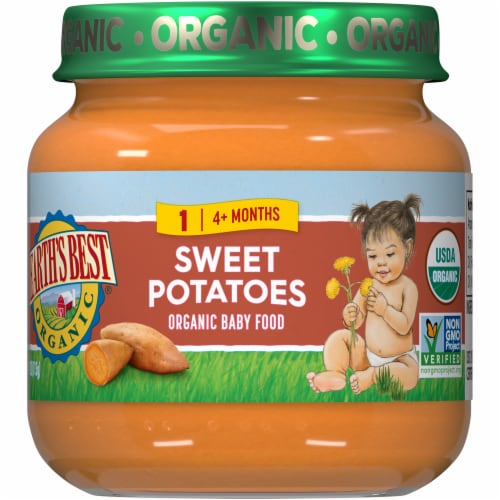 Earth's Best Organic Sweet Potatoes Stage 2 Baby Food Perspective: front