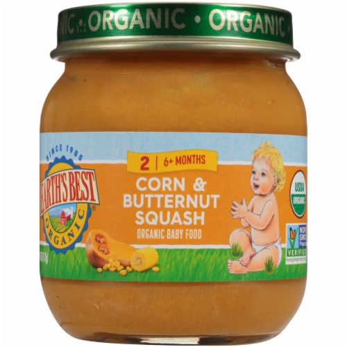 Earth's Best Organic Corn & Butternut Squash Stage 2 Baby Food Perspective: front