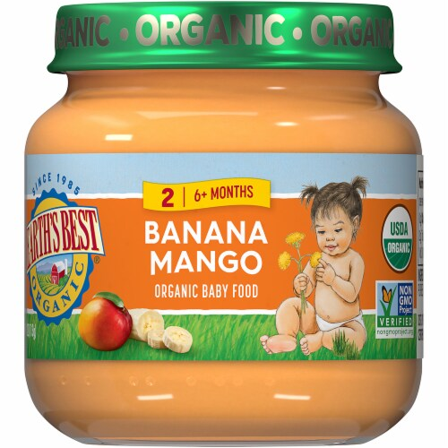 Earth's Best Organic Banana Mango Stage 2 Baby Food Perspective: front