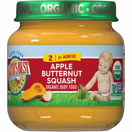 Earth's Best Organic Apple Butternut Squash Stage 2 Baby Food Perspective: front