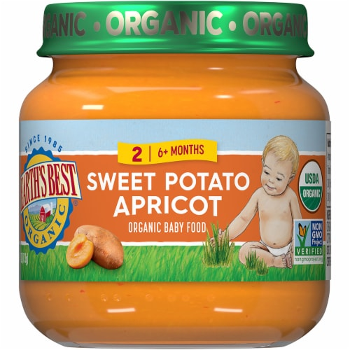 Earth's Best Organic Sweet Potato Apricot Stage 2 Baby Food Perspective: front