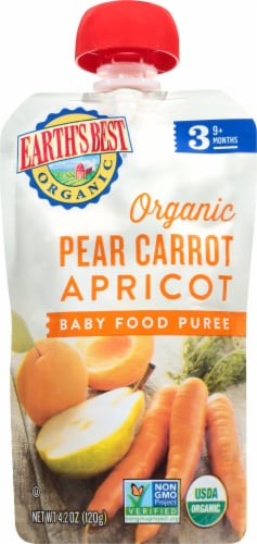 Earth's Best Organic Pear Carrot & Apricot Stage 3 Baby Food Puree Perspective: front