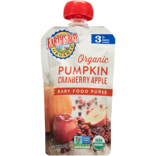 Earth's Best Organic Pumpkin Cranberry & Apple Stage 3 Baby Food Puree Perspective: front