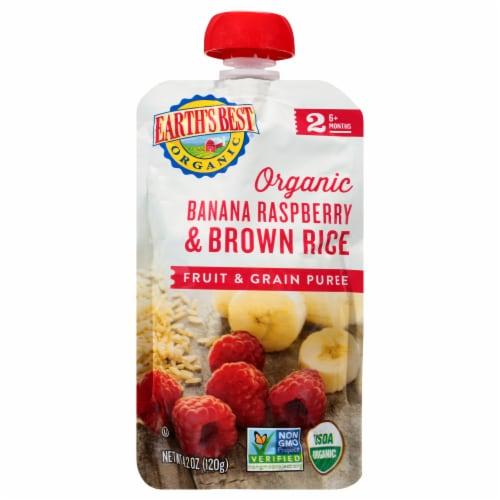 Earth's Best Organic Banana Raspberry Brown Rice Fruit & Grain Puree Perspective: front