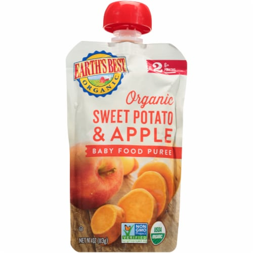 Earth's Best Organic Sweet Potato Apple Stage 2 Baby Food Puree Pouch Perspective: front
