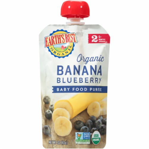 Earth's Best Organic Banana Blueberry Stage 2 Baby Food Puree Perspective: front