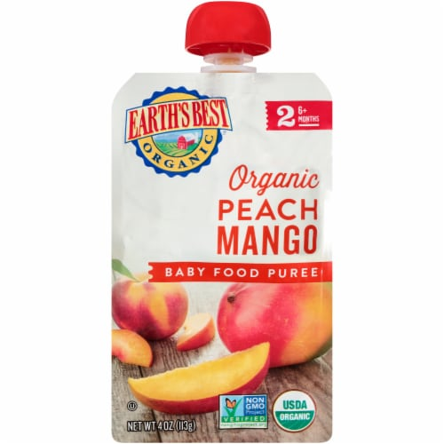 Earth's Best Organic Peach & Mango Stage 2 Baby Food Puree Perspective: front
