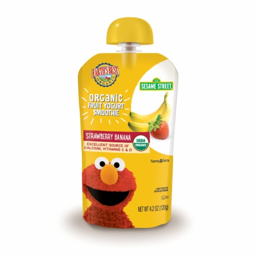 Earth's Best Organic Strawberry Banana Fruit Yogurt Smoothie Baby Food Perspective: front