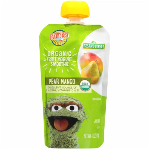 Earth's Best Organic Pear Mango Fruit Yogurt Smoothie Baby Food Perspective: front