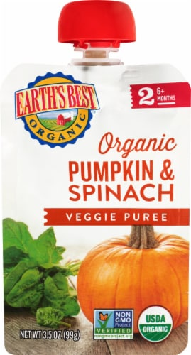 Earth's Best Organic Pumpkin & Spinach Veggie Puree Stage 2 Baby Food Perspective: front
