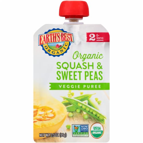 Earth's Best Organic Squash & Sweet Peas Stage 2 Baby Food Puree Pouch Perspective: front