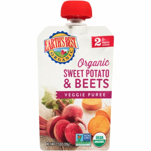 Earth's Best Organic Sweet Potato & Beets Veggie Puree Stage 2 Baby Food Perspective: front