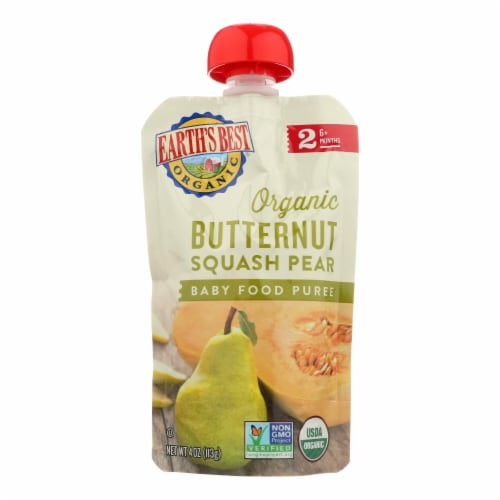 Earth's Best Organic Butternut Squash Pear Baby Food Puree - Stage 2 - Case of 12 - 4 oz. Perspective: front