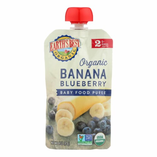 Earth's Best Organic Banana Blueberry Baby Food Puree - Stage 2 - Case of 12 - 4 oz. Perspective: front