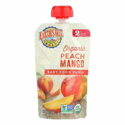 Earth's Best Organic Peach Mango Baby Food Puree - Stage 2 - Case of 12 - 4 oz. Perspective: front