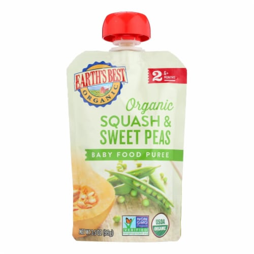 Earth's Best Organic Squash and Sweet Peas Baby Food Puree - Stage 2 - Case of 12 - 3.5 oz. Perspective: front
