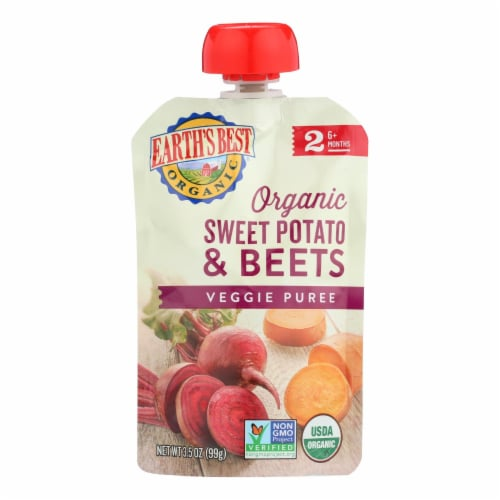 Earth's Best Organic Sweet Potato and Beets Baby Food Puree - Stage 2 - Case of 12 - 3.5 oz. Perspective: front
