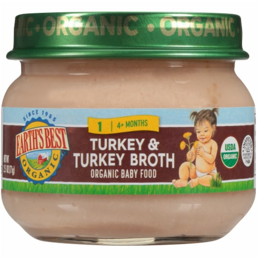 Earths Best Organic Turkey & Turkey Broth Stage 1 Baby Food Perspective: front