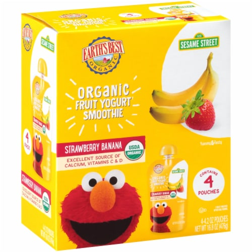 Earth's Best Organic Sesame Street Strawberry Banana Yogurt Smoothie Baby Food 4 Count Perspective: front
