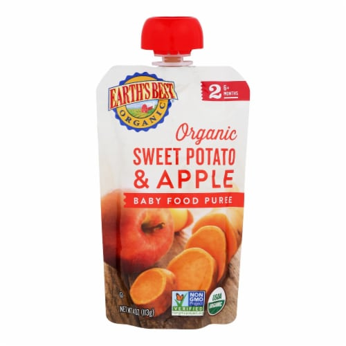 Earth's Best Organic Sweet Potato Apple Baby Food Puree - Stage 2 - Case of 12 - 4 oz. Perspective: front