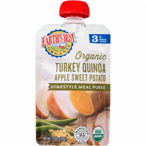 Earth's Best Organic Turkey Quinoa Apple Sweet Potato Homestyle Meal Stage 3 Baby Food Pouch Perspective: front