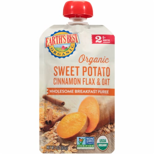 Earth's Best Organic Sweet Potato Cinnamon Flax & Oat Stage 2 Breakfast Puree Perspective: front