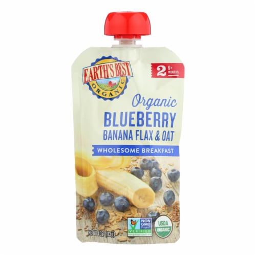Earth's Best Organic Wholesome Breakfast Blueberry Banana Pouch - Case of 12 - 4 oz. Perspective: front