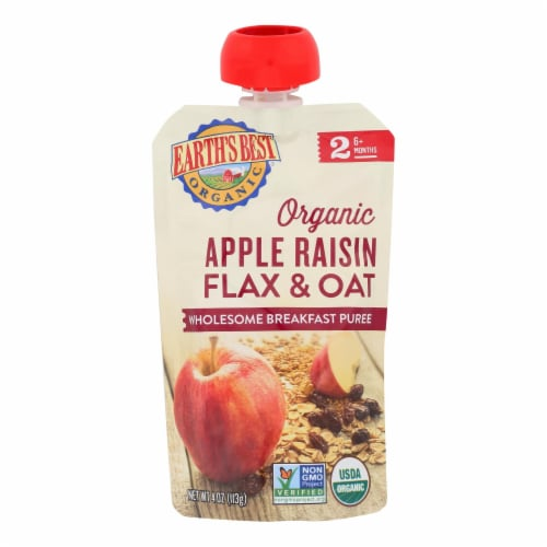 Earth's Best Organic Wholesome Breakfast Apple Raisin Pouch - Case of 12 - 4 oz. Perspective: front