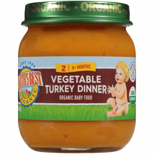 Earth's Best Organic Vegetable Turkey Dinner Stage 2 Baby Food Perspective: front