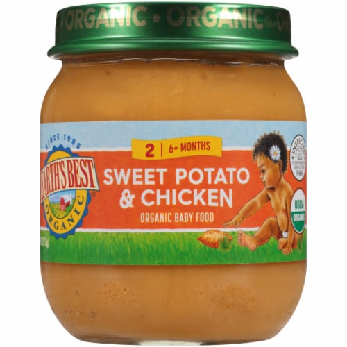Earth's Best Organic Sweet Potato & Chicken Stage 2 Baby Food Perspective: front
