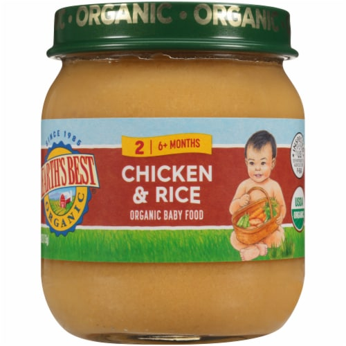 Earth's Best Organic Chicken & Brown Rice Stage 2 Baby Food Perspective: front