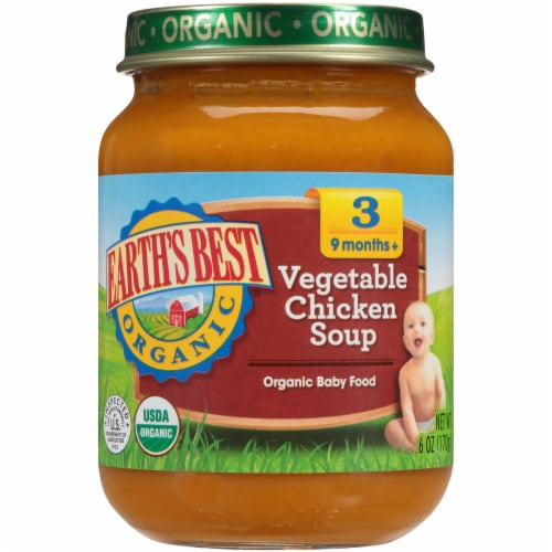 Earth's Best Organic Vegetable Chicken Soup Stage 3 Baby Food Perspective: front