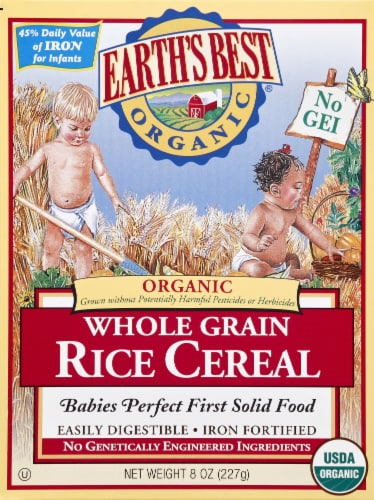 Earth's Best Organic Whole Grain Rice Cereal Baby Food Perspective: front
