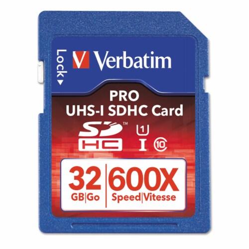 Verbatim 32gb Pro 600x Sdhc Memory Card, Uhs-I V30 U3 Class 10 98047 Perspective: front