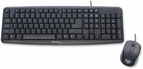 Verbatim Slimline Corded USB Keyboard and Mouse - Black Perspective: front
