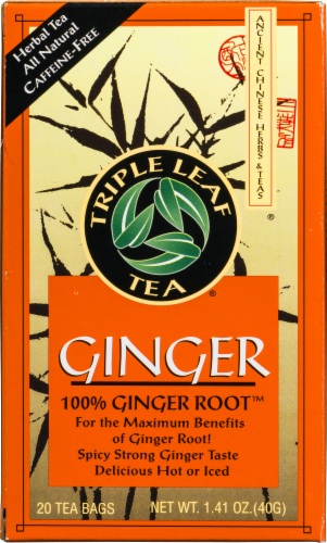 Triple Leaf Tea Ginger Root Tea Perspective: front