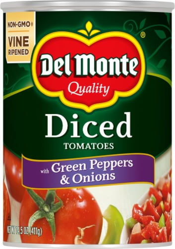 Del Monte Diced Tomatoes with Green Pepper & Onions Perspective: front