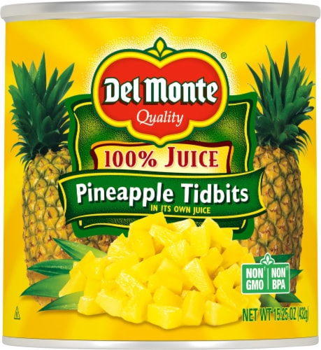 Del Monte Pineapple Tidbits in 100% Juice Perspective: front